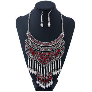 Artificial Ruby Teardrop Necklace and Earrings - RED