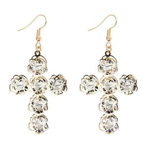 Rhinestone Rose Cross Drop Earrings