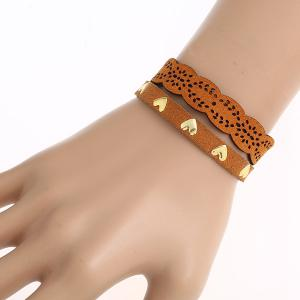 Faux Leather Heart Pattern Bracelet - Brown
