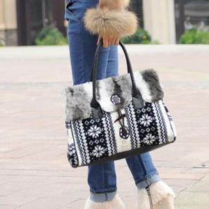 Faux Fur Zigzag and Snowflake Pattern Color Block Tote Bag -