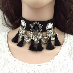Boho Fringe Statement Choker Necklace - Black