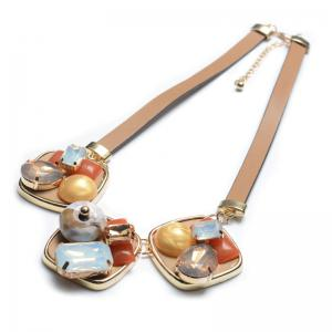 Faux Gem PU Leather Geometric Necklace -