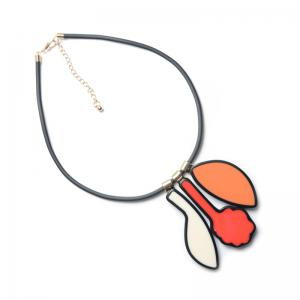 PU Leather Rope Enamel Geometric Shape Necklace -