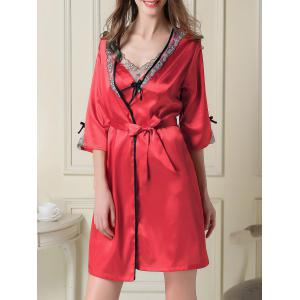 Contrast Trim Satin Slip Dress and Robe - Red - L