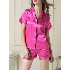 Satin Boxer Pajamas Summer Set - Rose Red - L