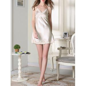 Satin Lace Trim Cami Sleep Dress - CHAMPAGNE 2XL