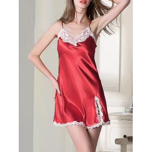 Lace Panel Slip Satin Short Sleep Dress - Red - Xl