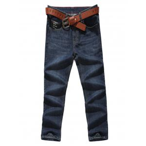 Letter Pocket Zip Fly Straight Leg Jeans