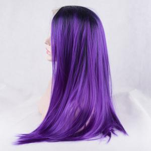 Long Color Mixed Side Parting Silky Straight Lace Front Synthetic Wig -