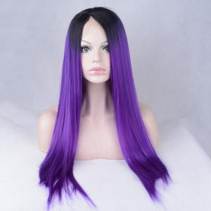 Long Color Mixed Side Parting Silky Straight Lace Front Synthetic Wig - DEEP PURPLE