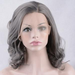 Medium Side Parting Shaggy Wavy Lace Front Synthetic Wig -