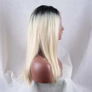 Long Middle Parting Colormix Natural Straight Lace Front Synthetic Wig -