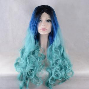 Long Middle Parting Colormix Wavy Lace Front Synthetic Wig -