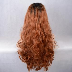 Long Centre Parting Colormix Wavy Lace Front Synthetic Wig -