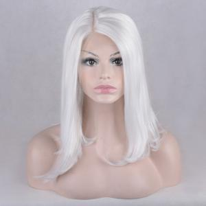 Side Parting Natural Straight Medium Lace Front Synthetic Wig -