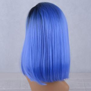 Side Parting Silky Straight Medium Colormix Lace Front Synthetic Wig -