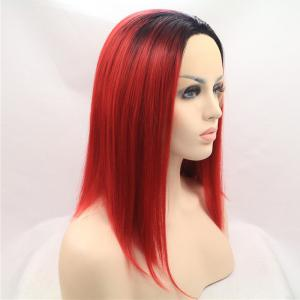 Medium Color Mixed Straight Lace Front Synthetic Wig -