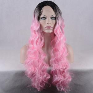 Long Colormix Centre Parting Wavy Lace Front Synthetic Wig -