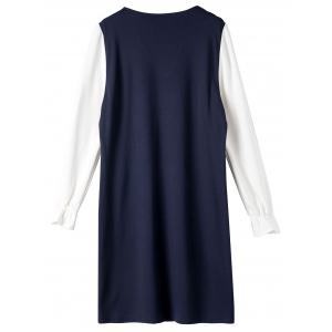 Plus Size Color Block Long Sleeve Dress With Pocket -