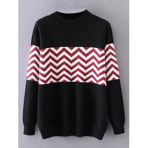 Crew Neck Zigzag Plus Size Sweater - Black - Xl