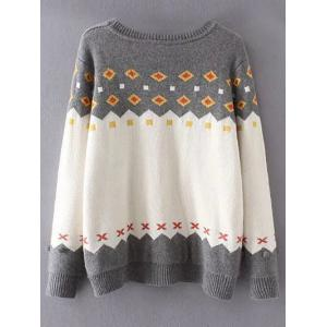 Crew Neck Color Block Plus Size Sweater - GREY AND WHITE 3XL