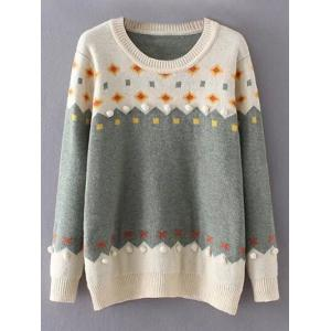 Crew Neck Color Block Plus Size Sweater