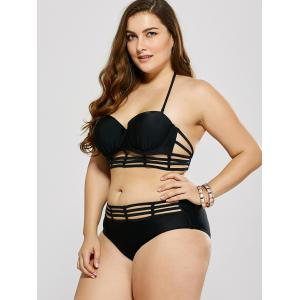 Plus Size Cut Out Halter Bikini - BLACK L
