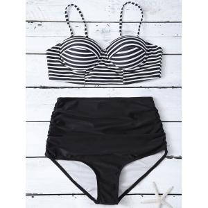 Cami Striped High Waist Bikini Set - Black - Xl