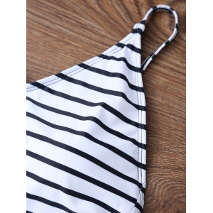 Backless Striped V Neck One Piece Swimsuit - WHITE M