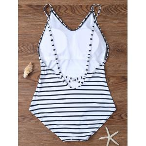 Backless Striped V Neck One Piece Swimsuit - WHITE S