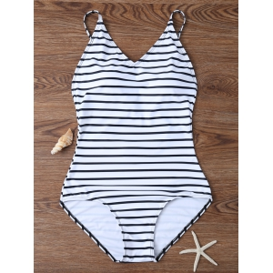 Backless Striped V Neck One Piece Swimsuit - White - S