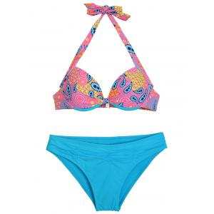 Halterneck Print Push Up Bikini Set
