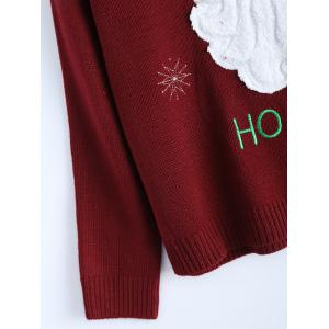 Crew Neck Santa Clause Christmas Sweater - WINE RED ONE SIZE