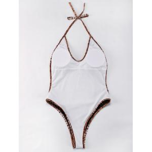 Halter Abstract Print Backless One-Piece Swimwear - TAN L