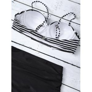Cami Striped High Waist Bikini Set - BLACK XL