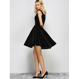 Vintage Square Neck Velvet Formal Short Dress -