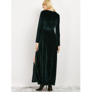 Long Sleeve Low Cut Slit Maxi Evening Dress - BLACKISH GREEN L