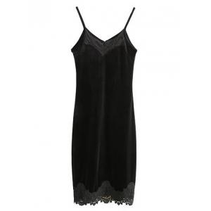 Lace Panel Midi Cami Club Dress - BLACK L