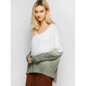 V Neck High-Low Ombre Knitwear - WHITE L