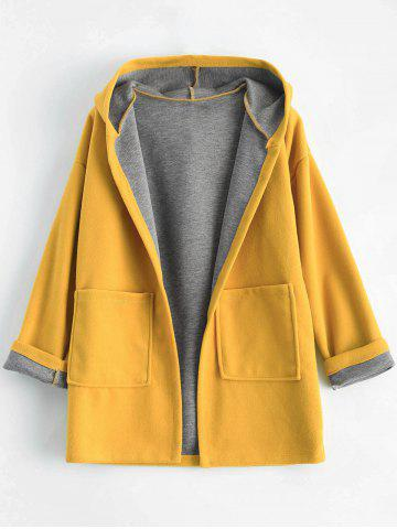 Store Plus Size Hooded Candy Color Long Open Front Coat