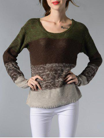 Affordable Chic Scoop Neck Long Sleeve Color Block Women's Sweater BROWN XL