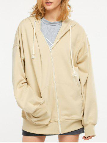 Unique Zip Up Drop Shoulder Drawstring Hoodie