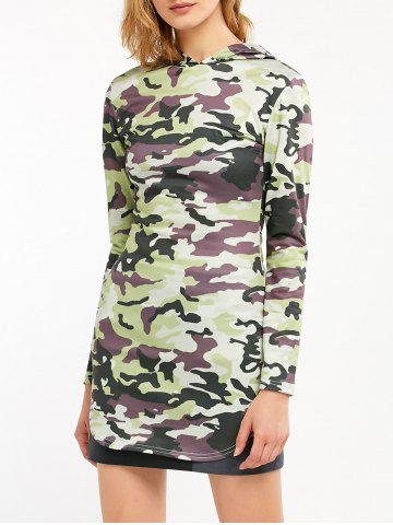 Trendy Camouflage Print Long Sleeve Hooded Tunic Dress CAMOUFLAGE COLOR L