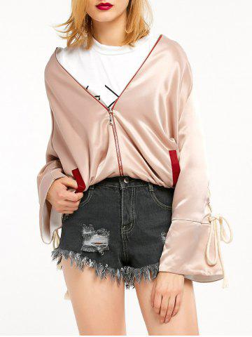 Cheap Graphic Satin Jacket with Lace Up