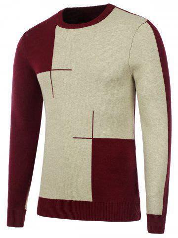 Chic Crew Neck Two Tone Knitted Sweater BURGUNDY 3XL