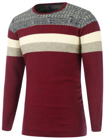 Color Matching Wavy Stripes Knitted Sweater - Burgundy - Xl