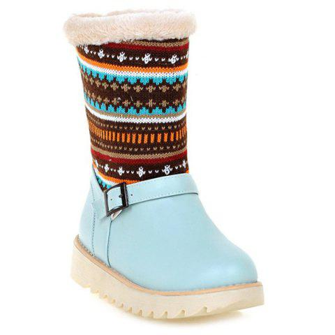 Trendy Colour Block Knitting Buckle Srap Snow Boots