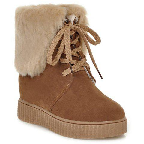 Outfits Faux Fur Lace Up Short Boots BROWN 39