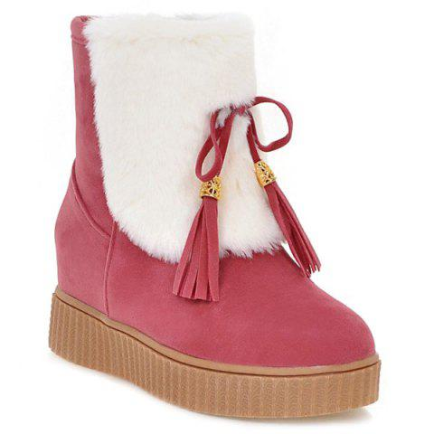 Trendy Increased Internal Tassels Faux Fur Snow Boots