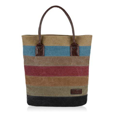 Buy Colour Block Striped Canvas Tote Bag